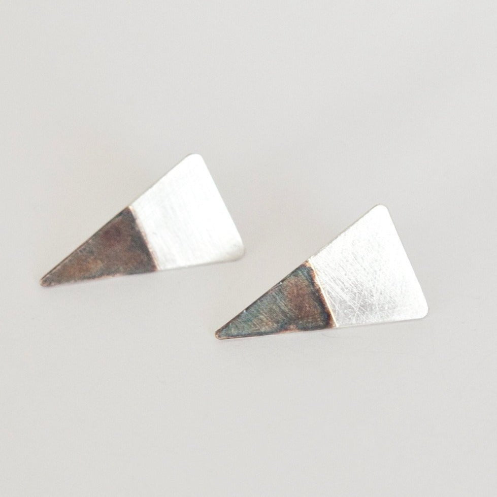 Triangle color block earrings in silver    (made to order)