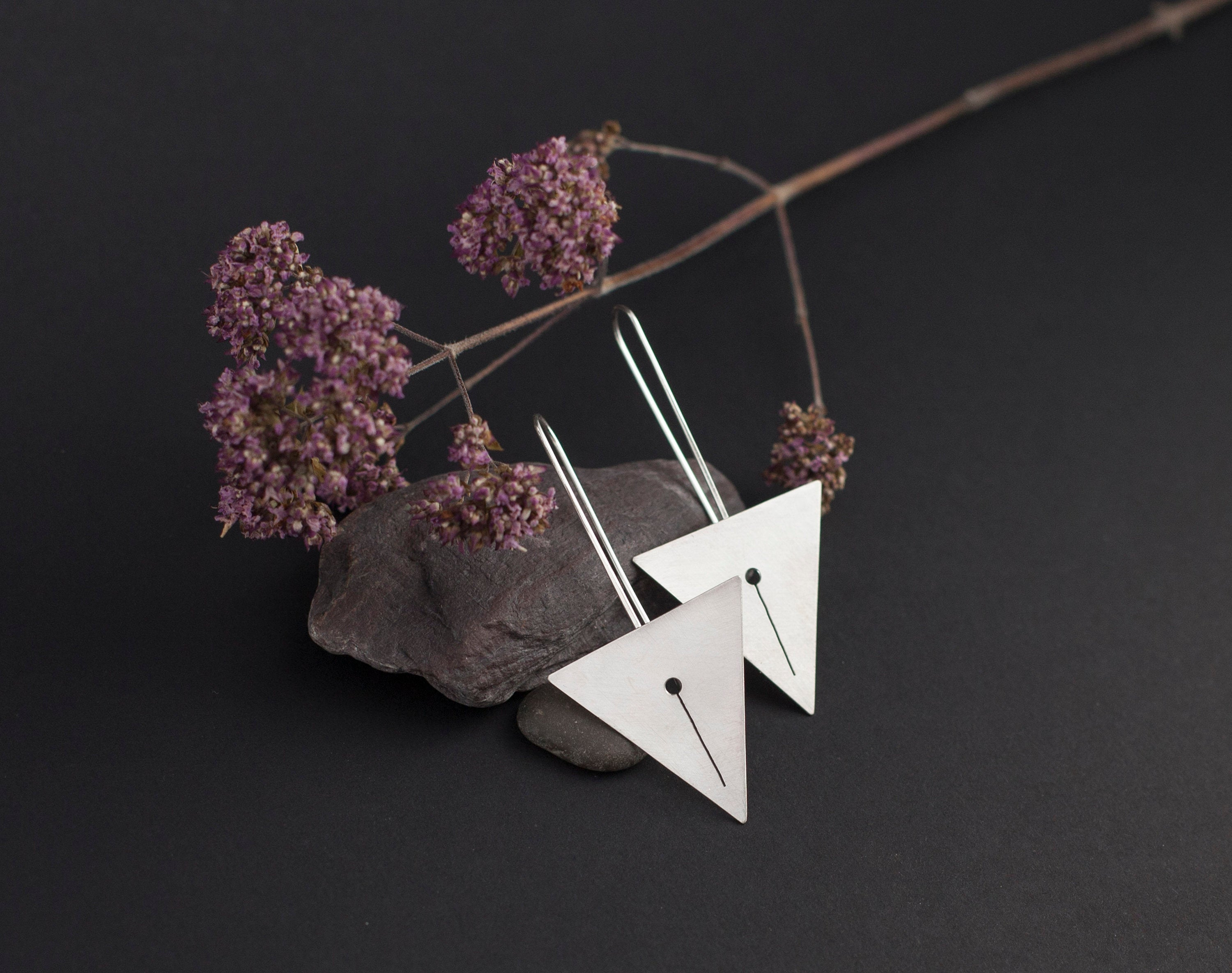 Long silver earrings : triangle with line out-cut     (made to order)