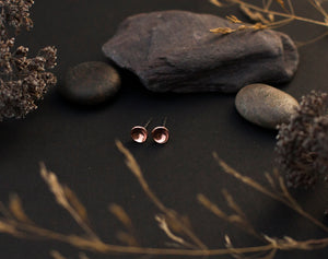 Small copper bowl earrings with silver ear posts - 6mm ø (made to order)
