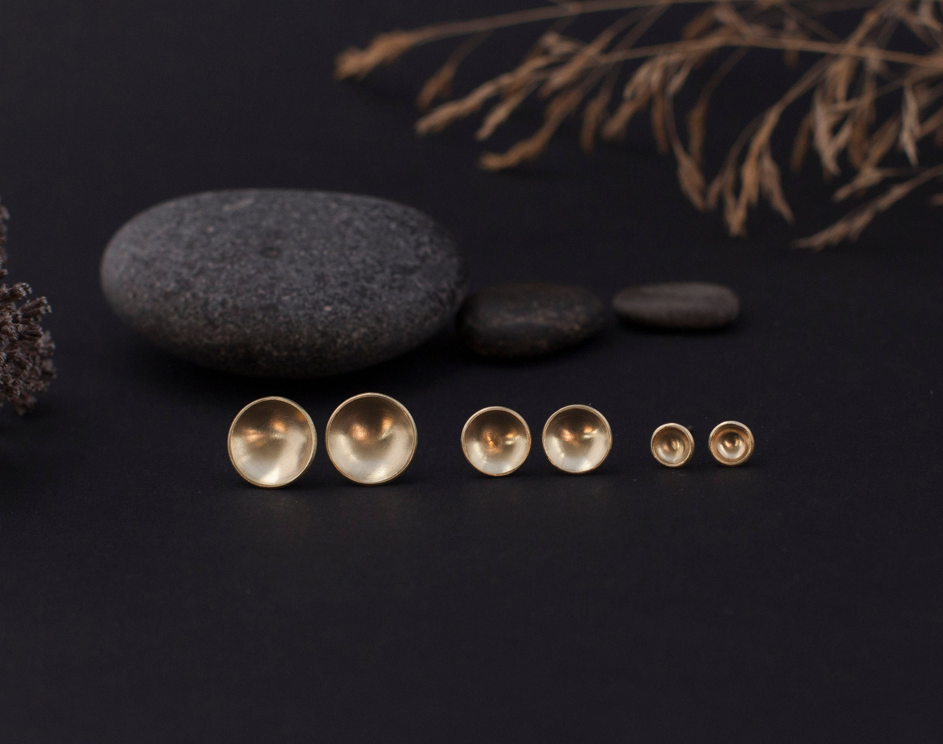 Medium brass bowl earrings with silver ear posts - 9mm ø (made to order)