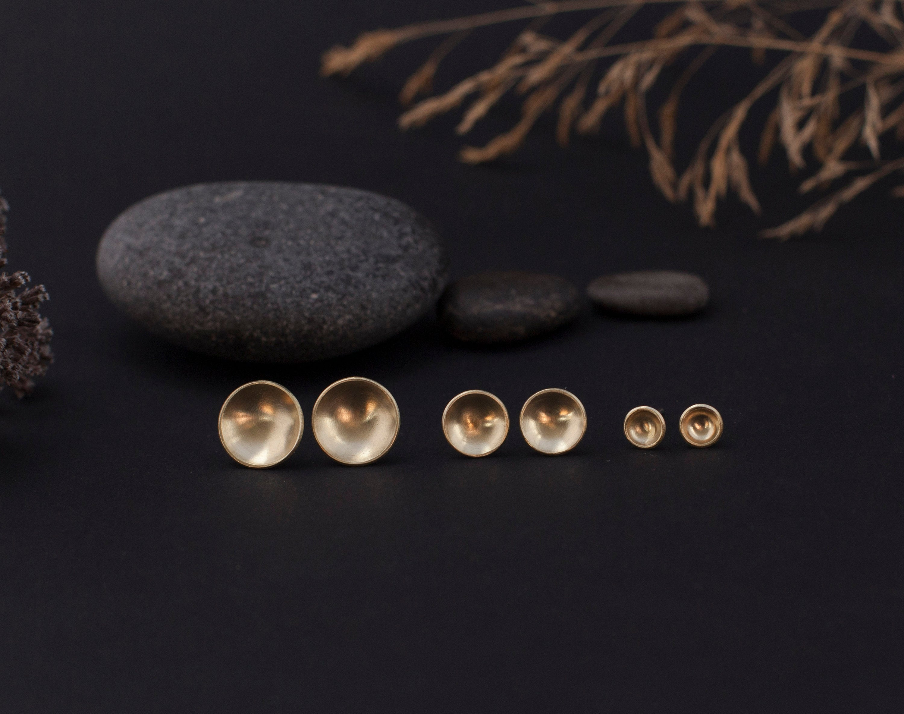 Small brass bowl earrings with silver ear posts - 6mm ø (made to order)
