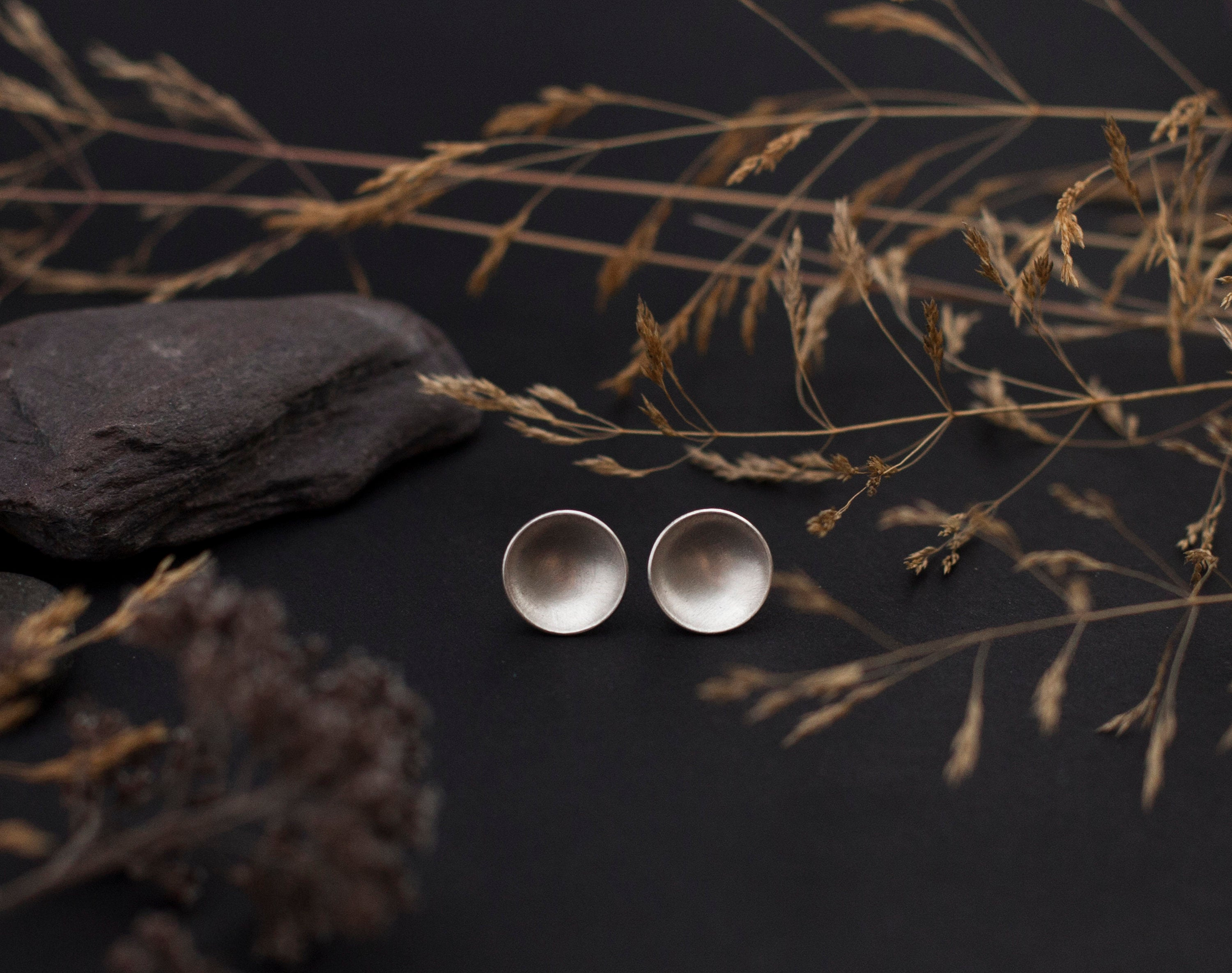 Large bowl earrings in silver - 12mm ø (made to order)