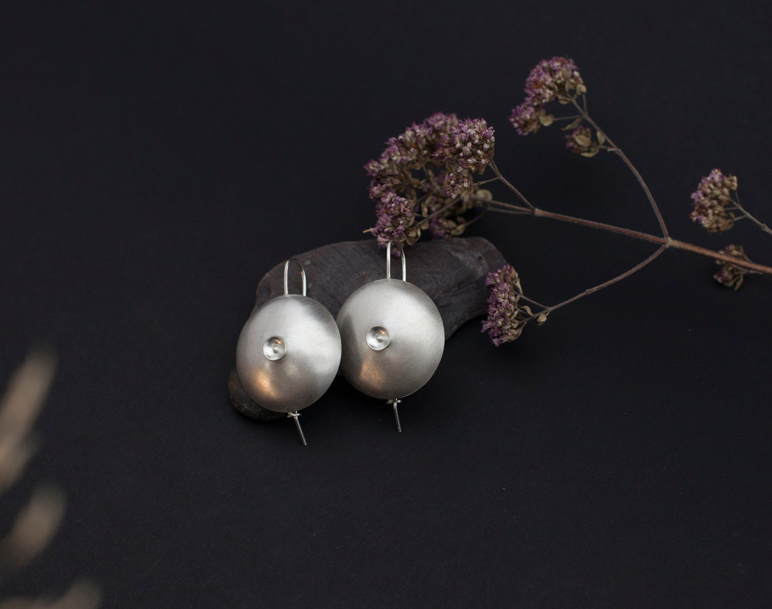 Circle earrings in silver ~ multiple bowls