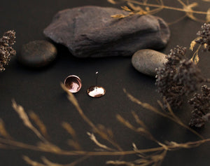 Medium bowl earrings in copper with silver ear post - 9mm ø (made to order)