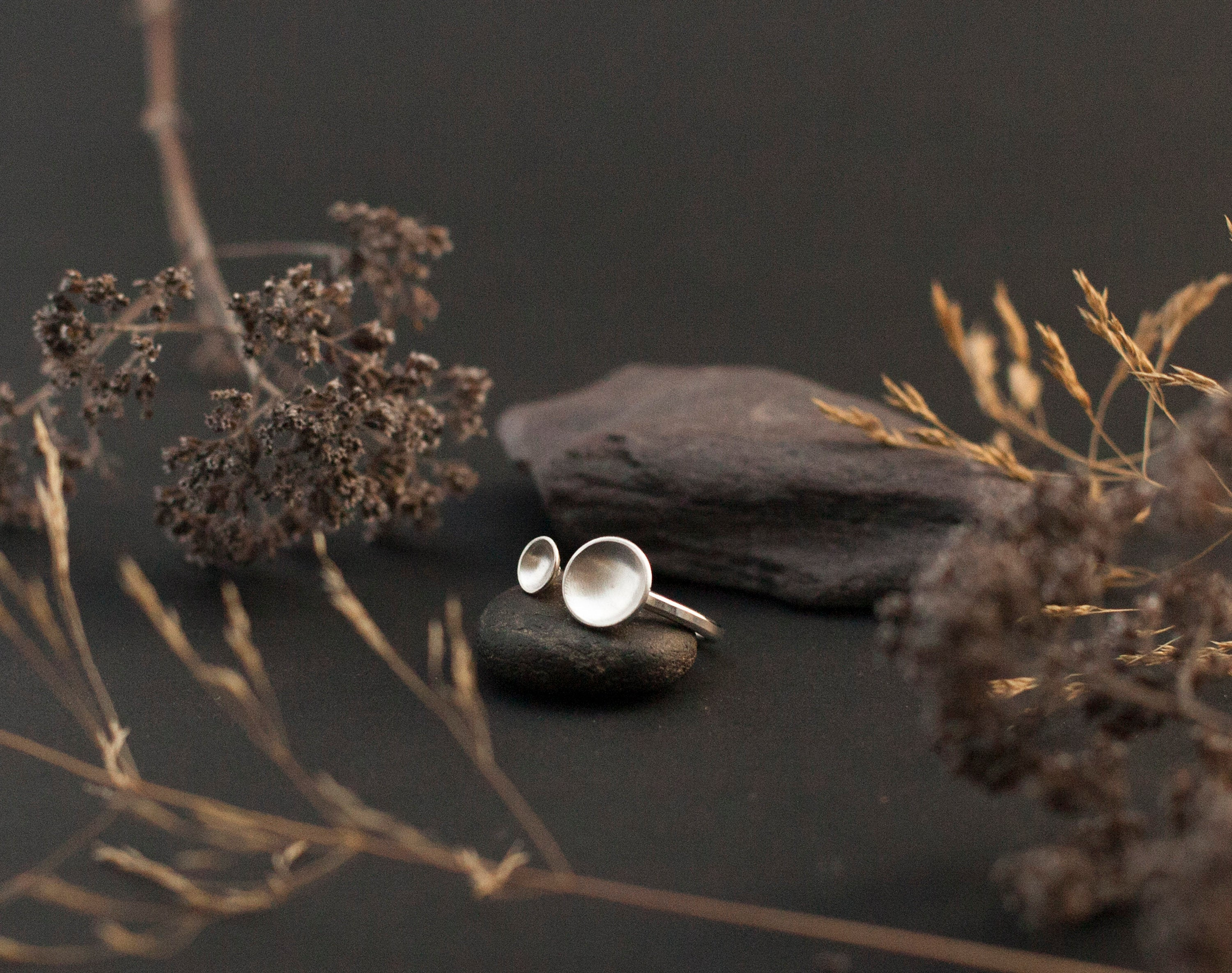 adjustable silver ring ~ two little bowls