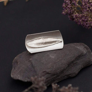 OOAK • Silver ring with casted leaf • size 8 1/2 • Ready to ship