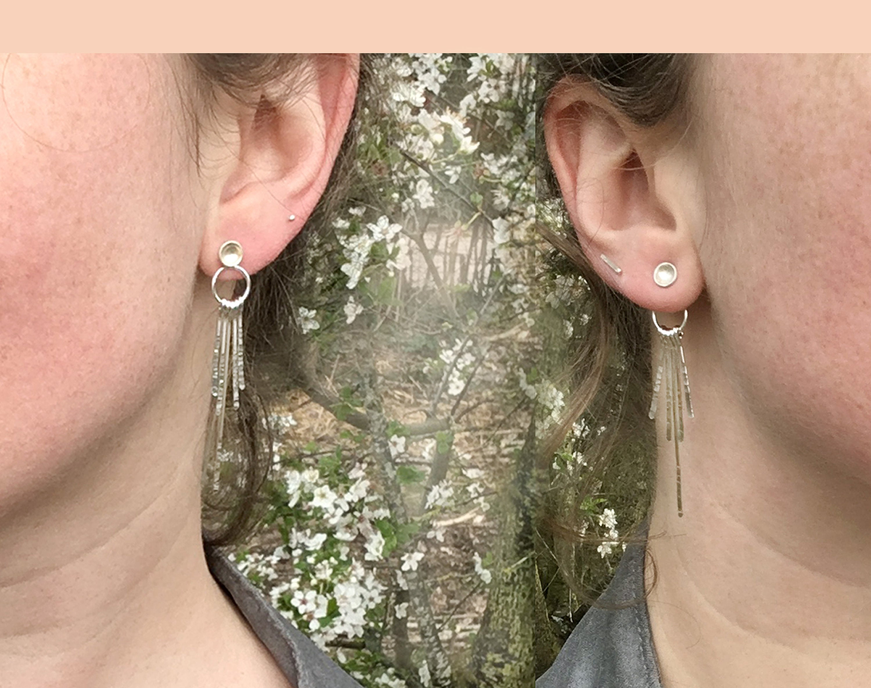 Ear jackets with fringe ~ 2 sizes ~ 3 metal options ~ 4 stud earrings options (Made to order)