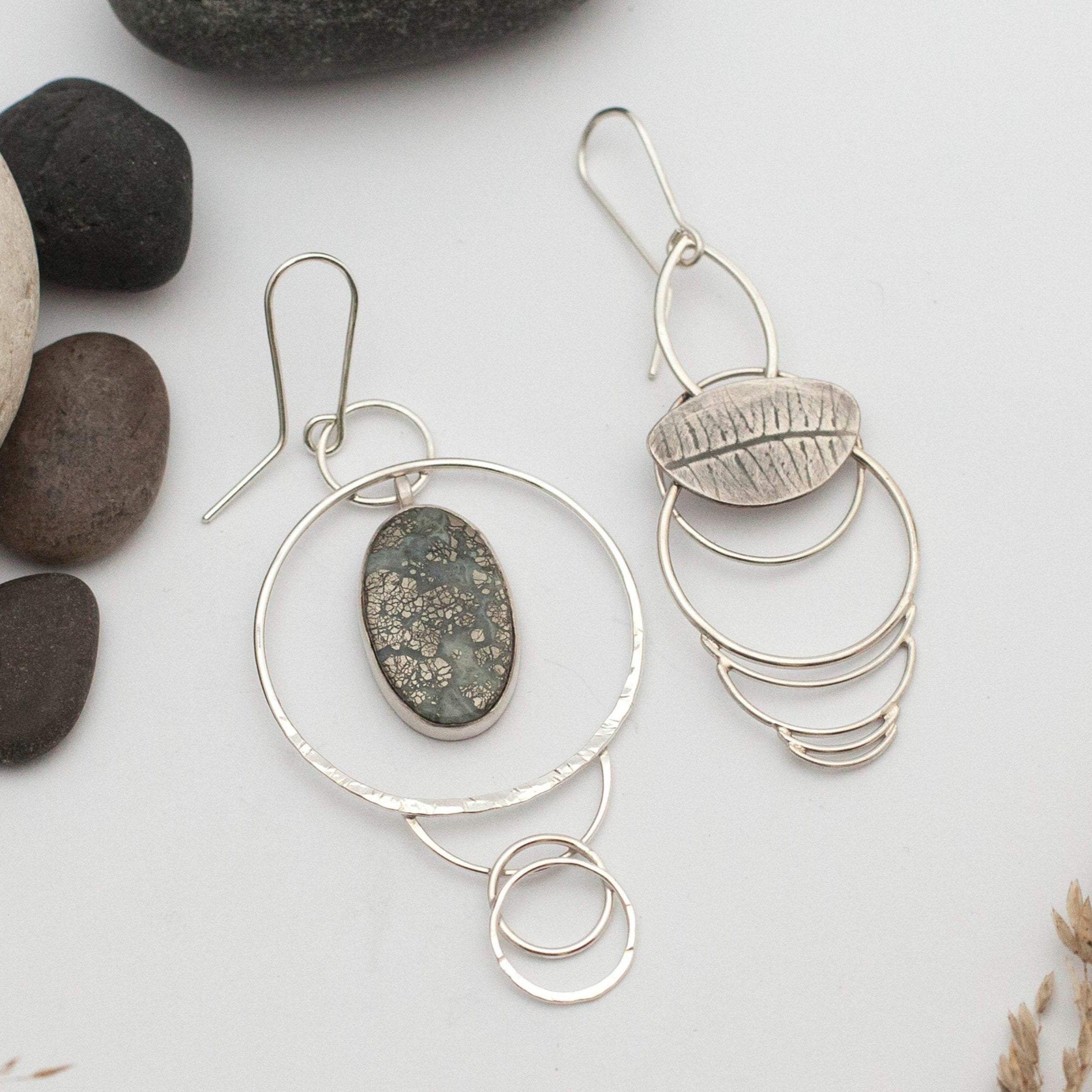 OOAK • Asymmetrical earrings in silver with pyrite agate and fern imprint • ready to ship