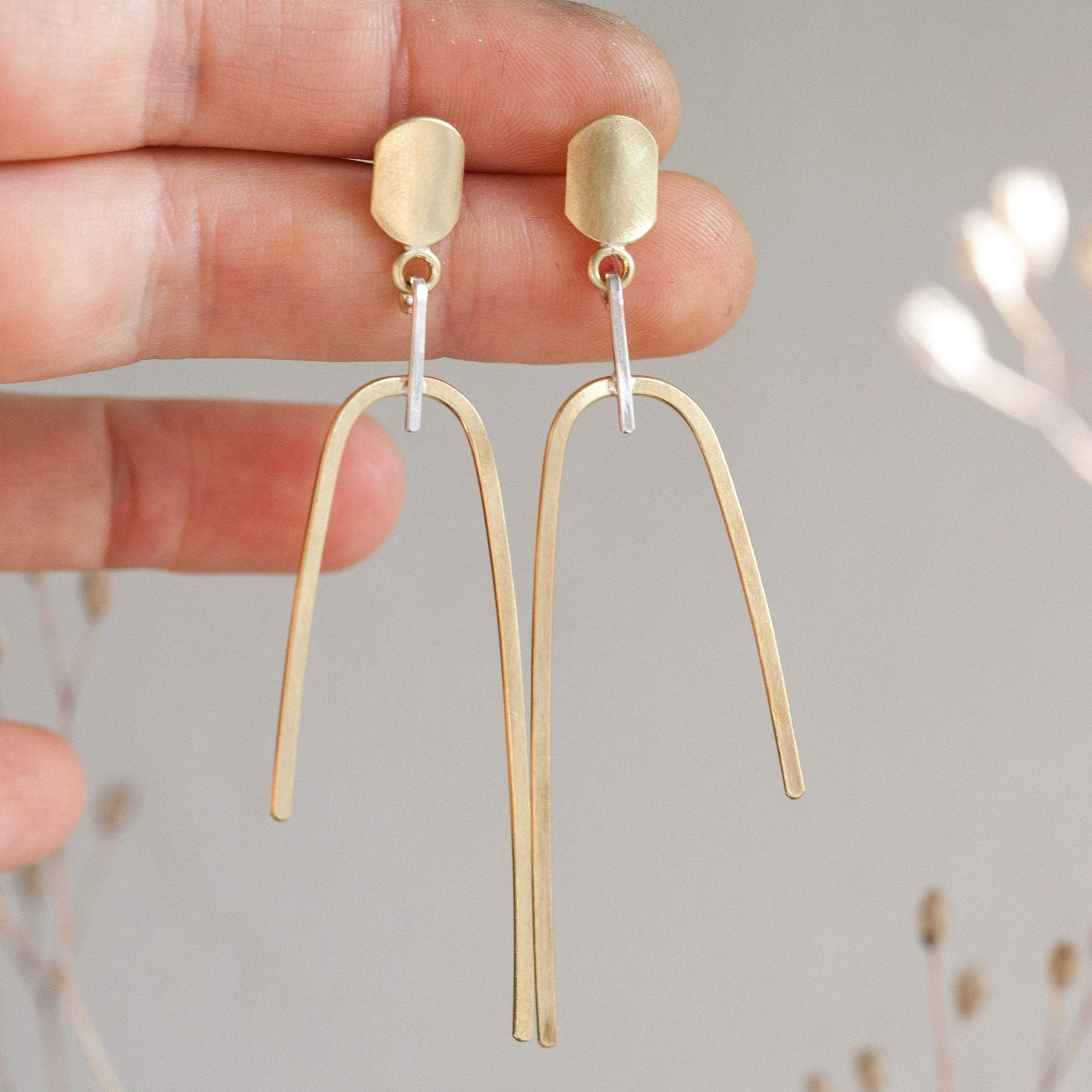 Mixed metals earrings ~ brass arch with silver touch