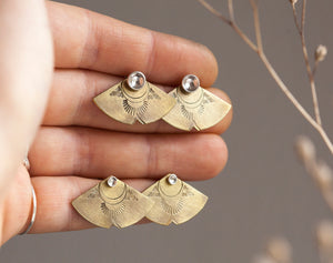Brass ear jackets with ethnic patterns