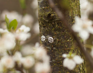 Tiny full moon stud earrings (small version)