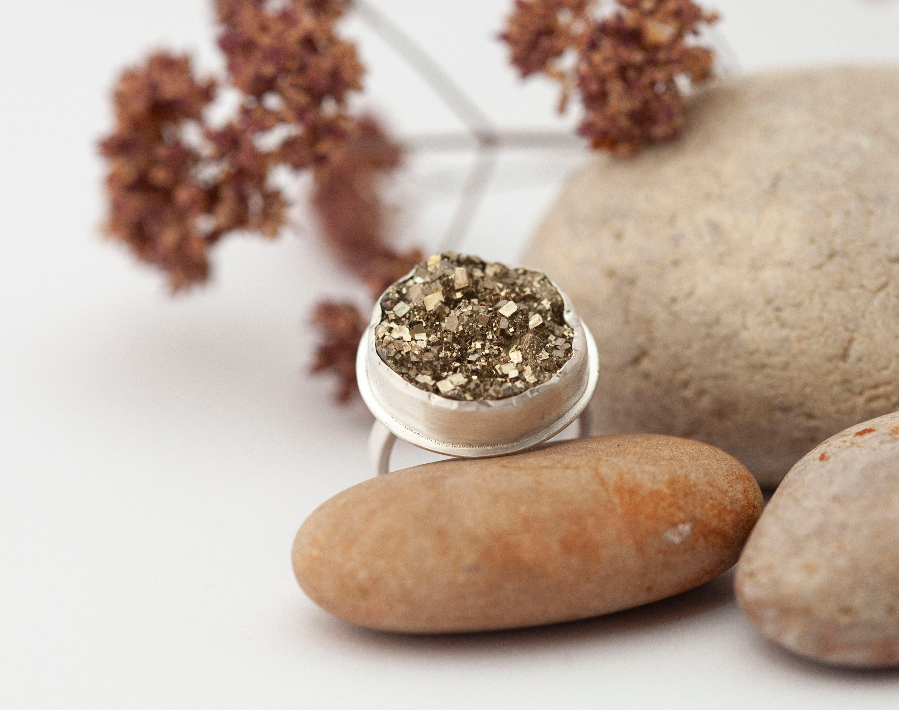 size 7.25 // 55 • OOAK Silver ring with druzzy pyrite • ready to ship