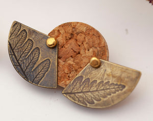 OOAK • Ear jackets in brass and silver with vegetal imprints • ready to ship