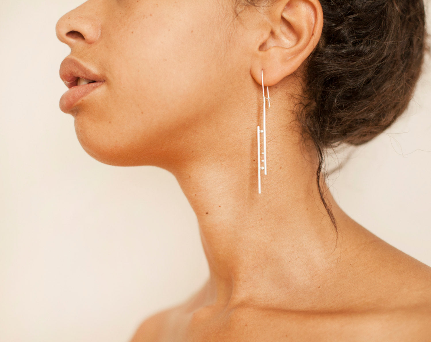 Silver earrings ~ lines and dots