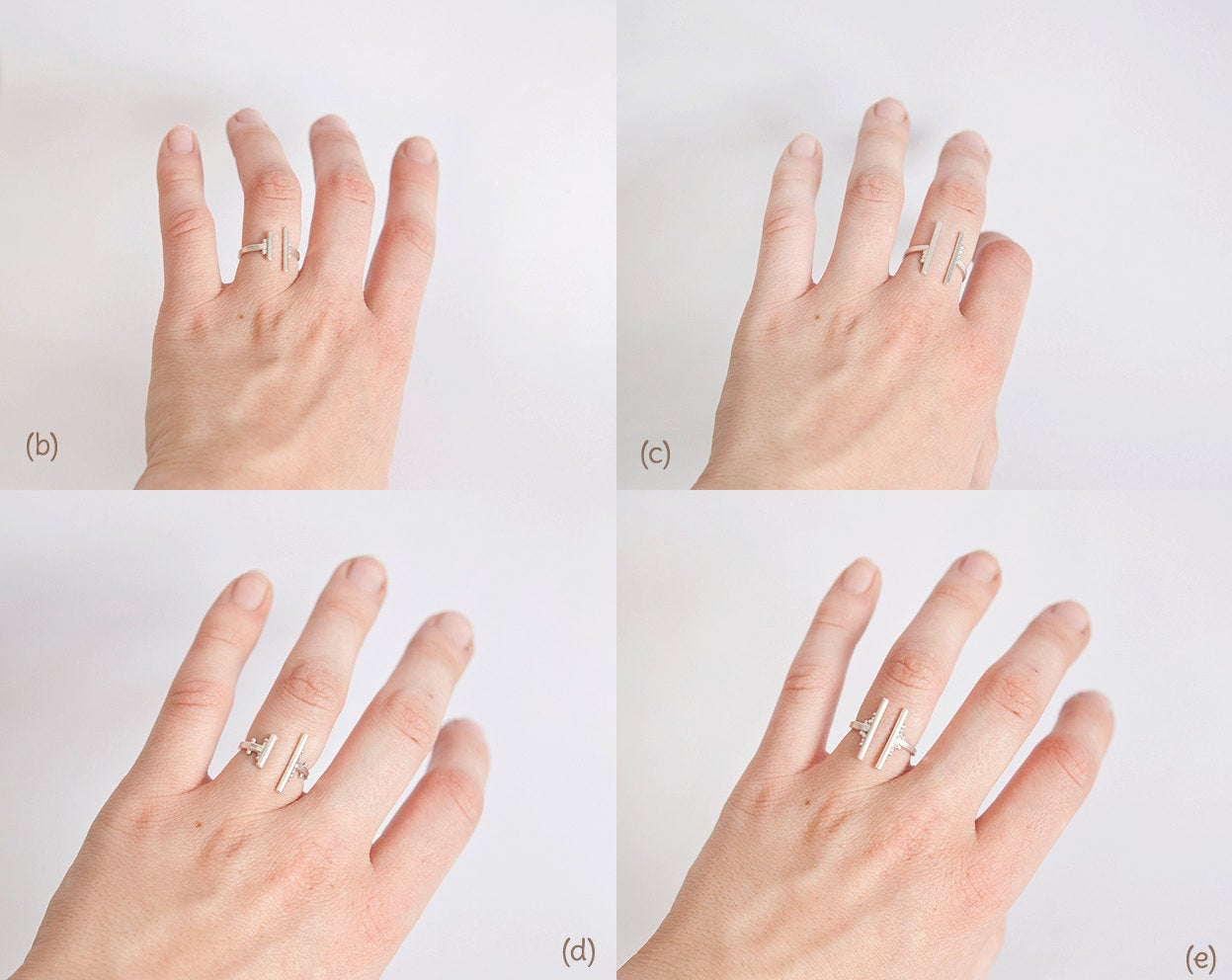 Architectural silver rings ~ 5 options to choose from ~ adjustable