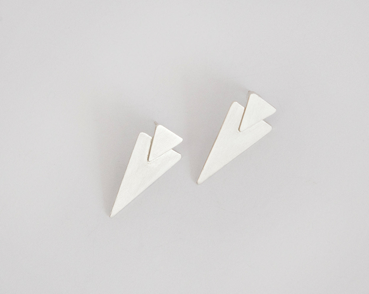 Double triangle stud earrings in silver     (made to order)