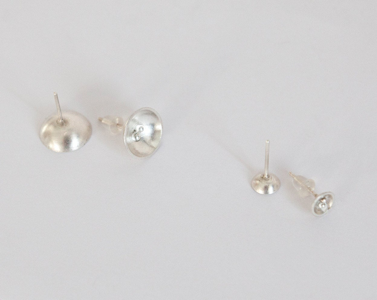 Tiny silver bowl earrings with little balls  (Ready to ship)