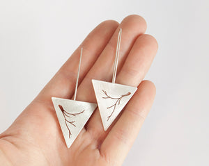Long triangle earrings in silver with vegetal out cut    (made to order)