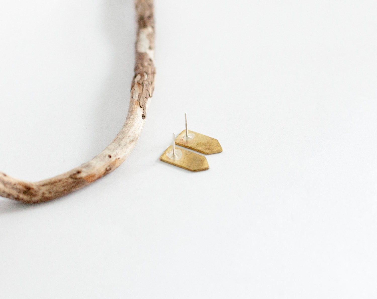 Arrow shaped stud earrings in brass ~ silver ear post      (made to order)