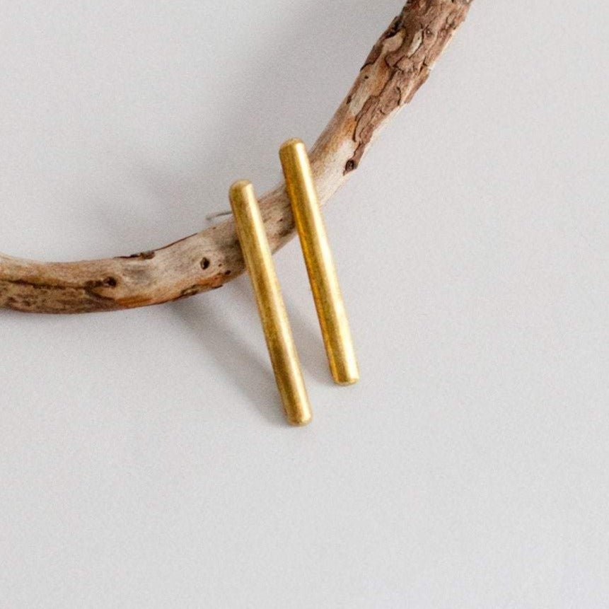 Simple bar earrings in brass ~ silver ear posts   (Made to order)
