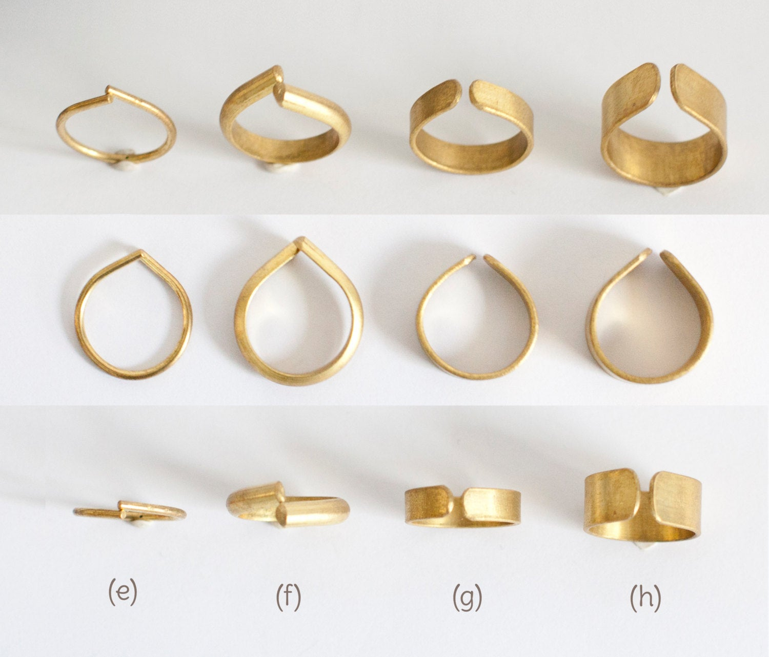 Adjustable open brass ring ~ teardrop shape ~ 4 designs to choose from   (Made to order)