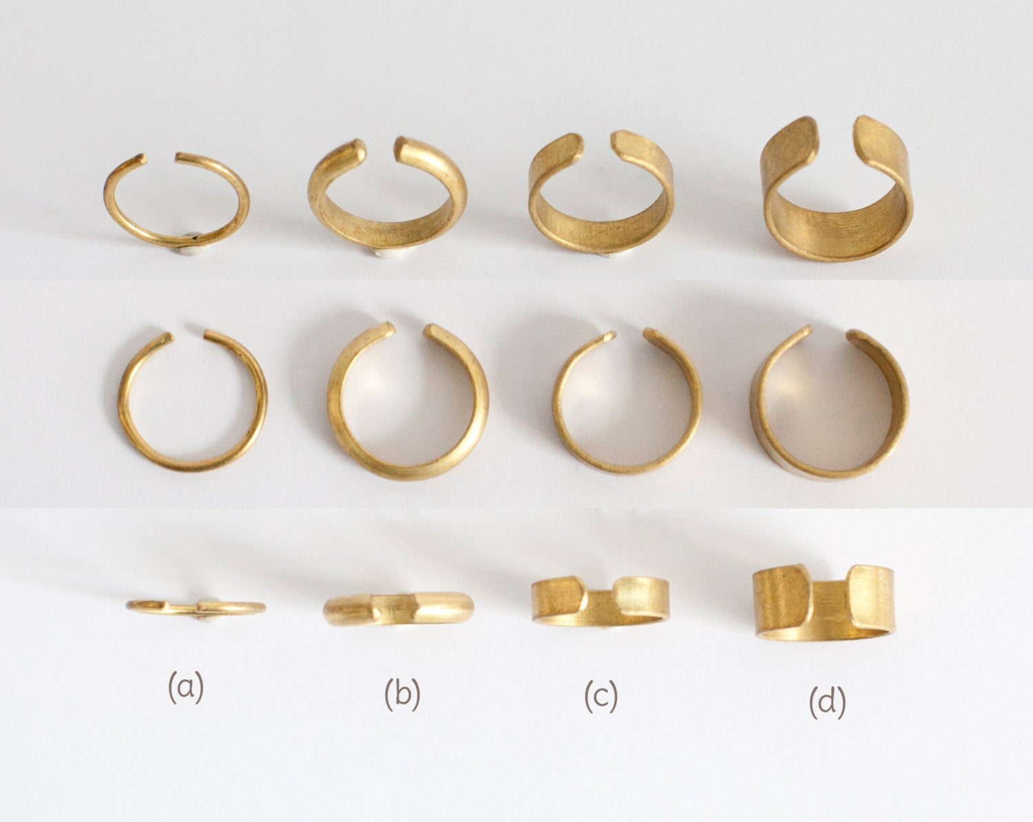 Adjustable open brass ring ~ 4 designs to choose from   (Made to order)