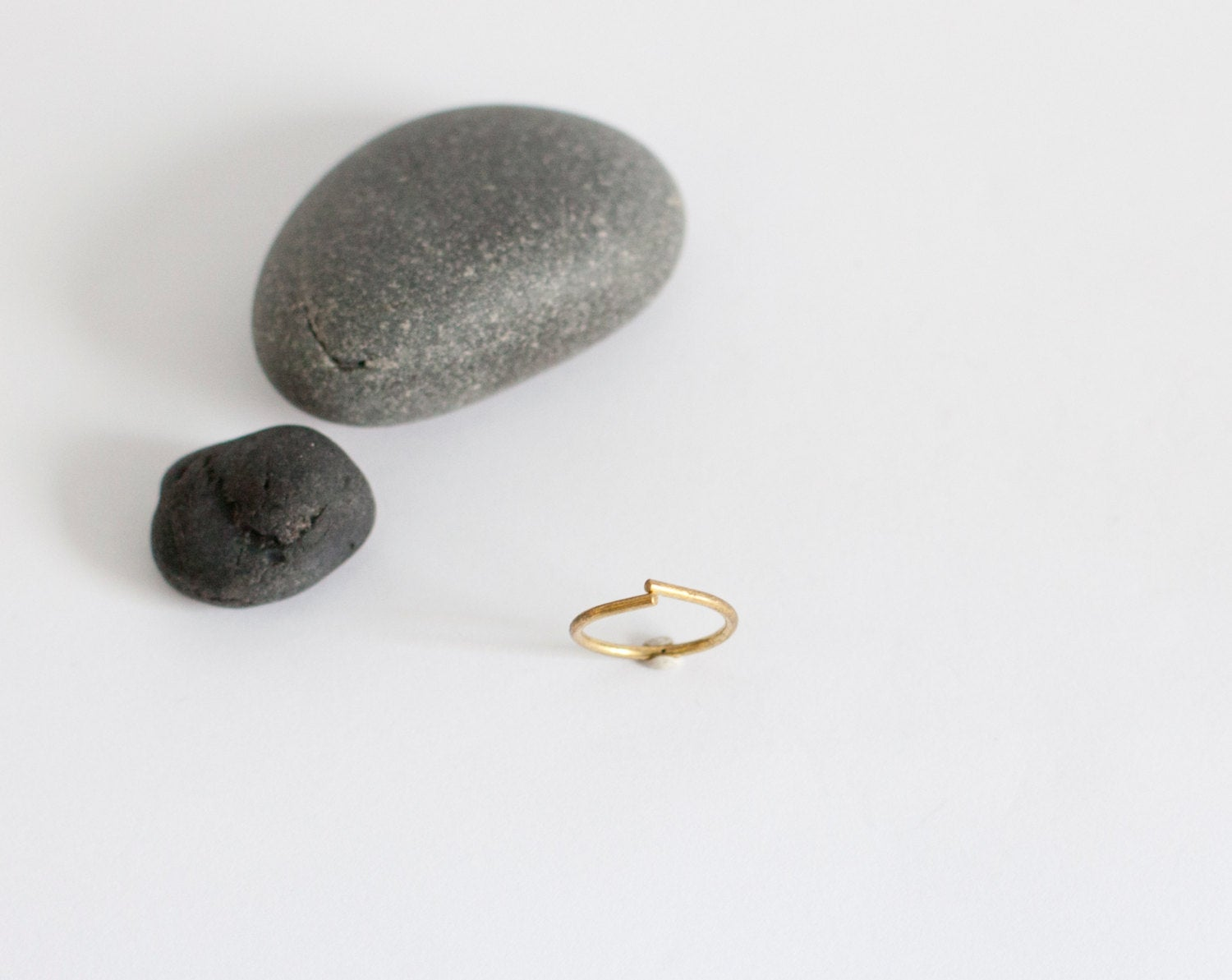 Thin open brass ring in teardrop shape   (Made to order)