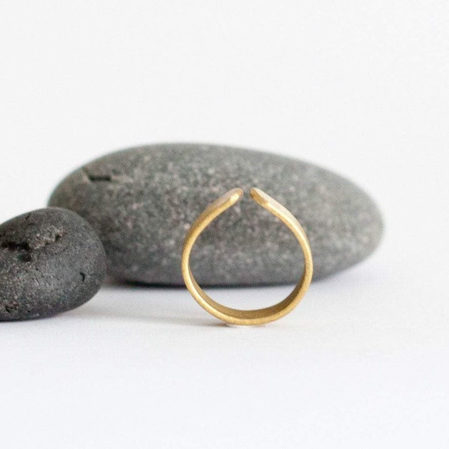 Adjustable flat brass ring ~ teardrop shape   (Made to order)