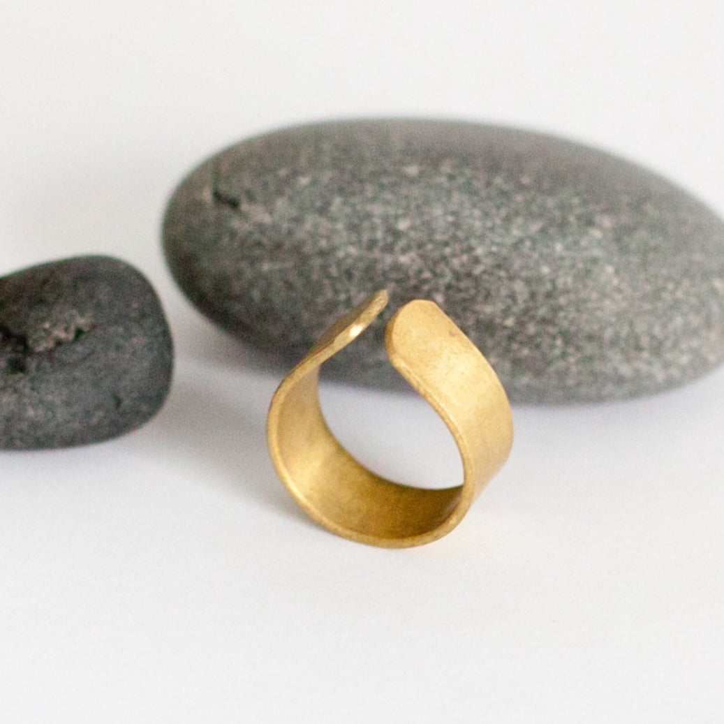 Large open brass ring in teardrop shape   (Made to order)