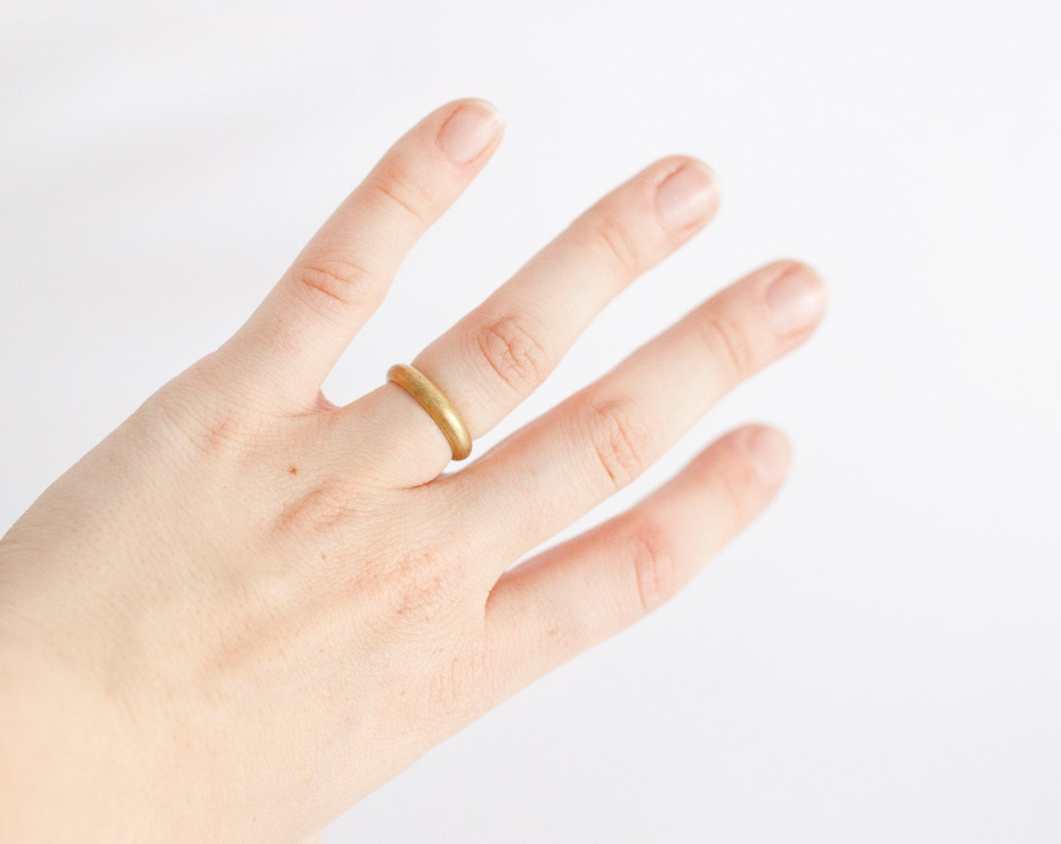 "Simple open brass ring ~ ""D"" shaped band   (Made to order)"