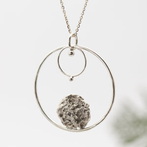OOAK • Moon halo pendant in silver (a)