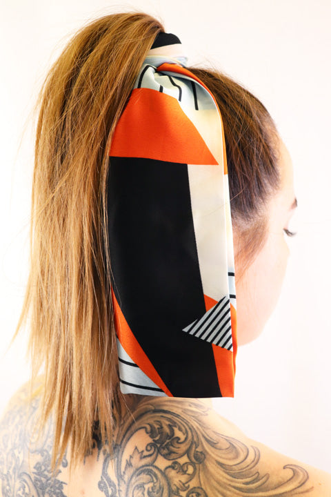 Hair Scarf Chloe in hair white black orange silver