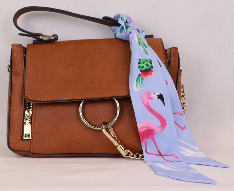 Hair Scarf Miami on handbag blue with pink flamingo green cactus