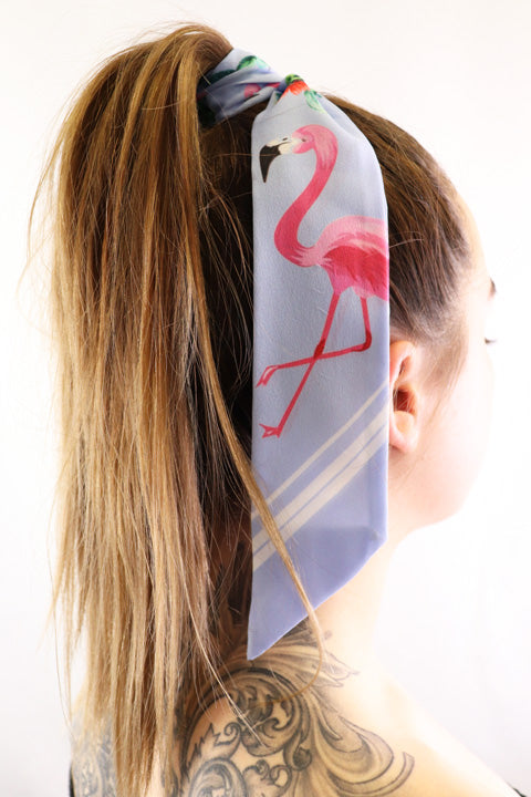 Hair Scarf Miami in hair blue with pink flamingo green cactus