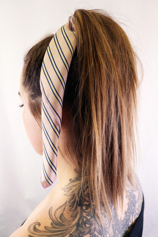 Hair Scarf Pink Lady in hair pink navy white yellow striped