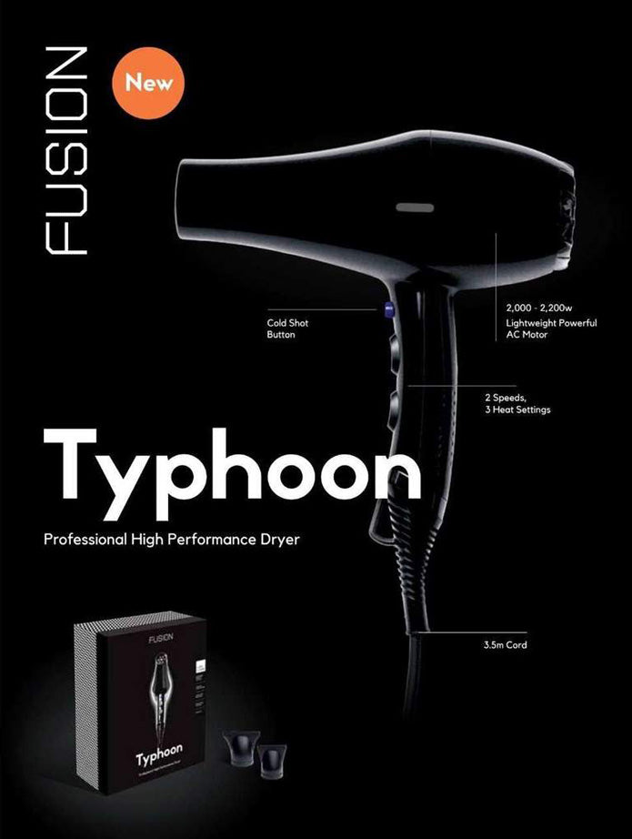Fusion Typhoon Hair Dryer info graphic