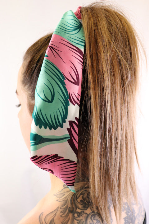 Hair Scarf Hideaway in hair white green pink