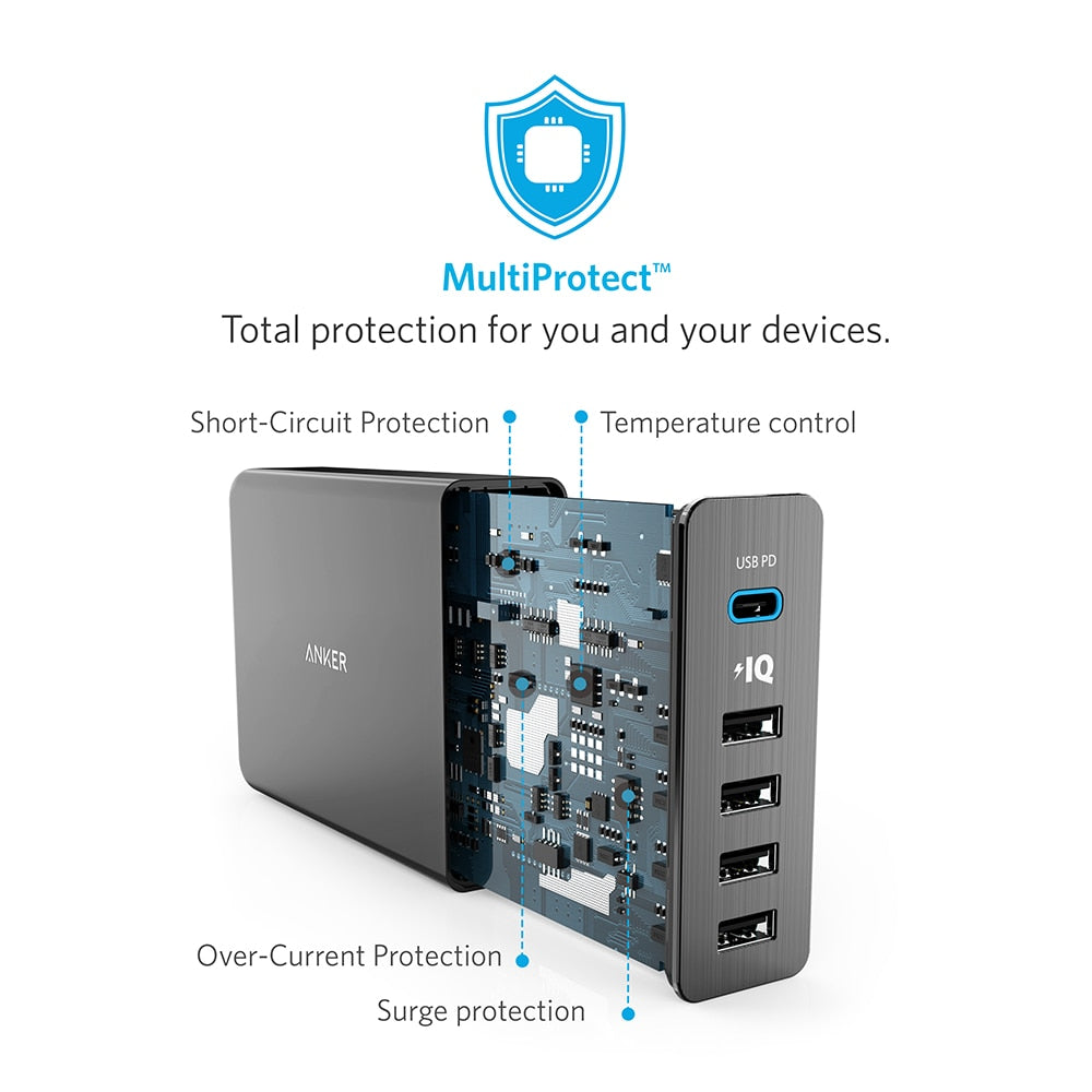 Anker USB Type-C Premium 5-Port 60W USB Wall Charger