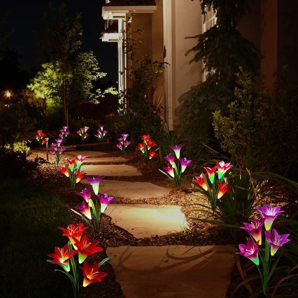New-Upgraded Artificial Lily Solar Garden Stake Lights (Packs of 4 Lilies)