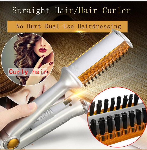 (60% OFF TODAY)- 2 In 1 Hair Curler And Hair Straightener, Ceramic Dual-Use Electric Styling Comb