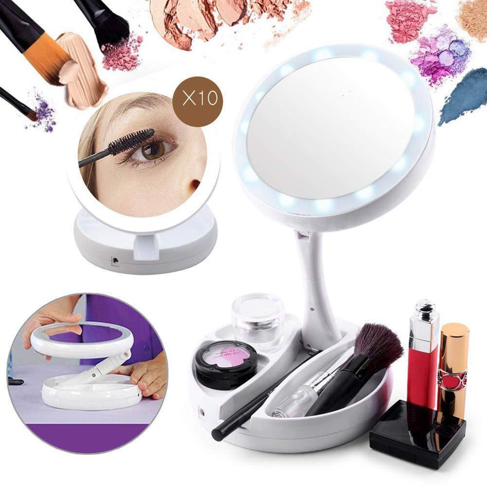 LED-illuminated Double-sided Foldable Rotation HD Makeup Mirror, 10x Magnification