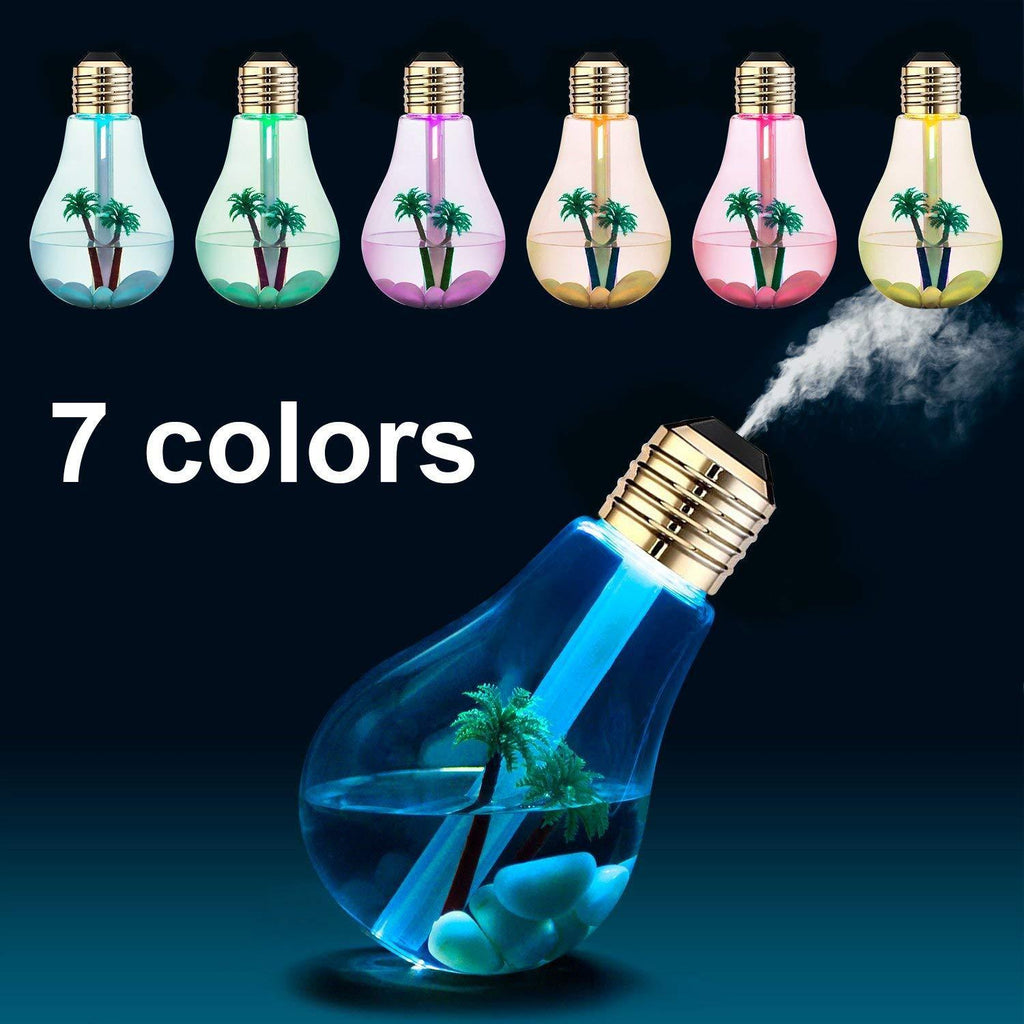 USB Bulb Air Humidifier 7 Colors Lamp Diffuser Humidifiers, Air Purifier Atomizer with Colorful LED Night Light for Bedroom Household Office Car