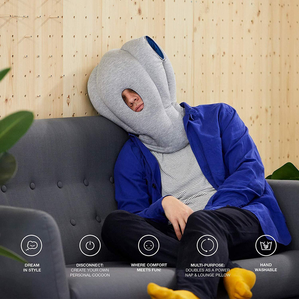 OSTRICH PILLOW - Travel Pillow for Airplanes, Car, Neck Support for Flying, Power Nap Head Pillow