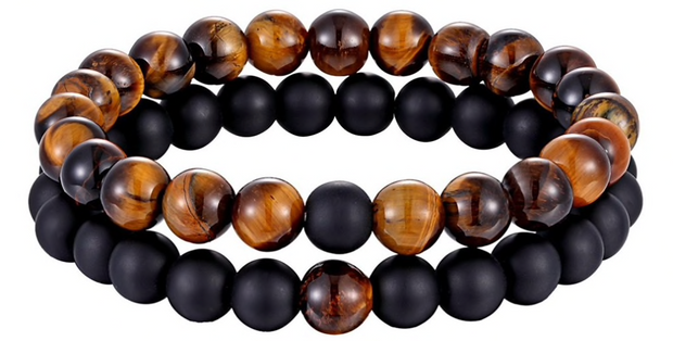 2er set onyx & tigerauge herrenarmband