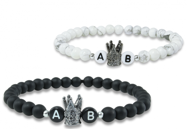 black white crown partnerarmband