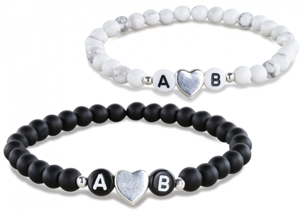 black white heart partnerarmband
