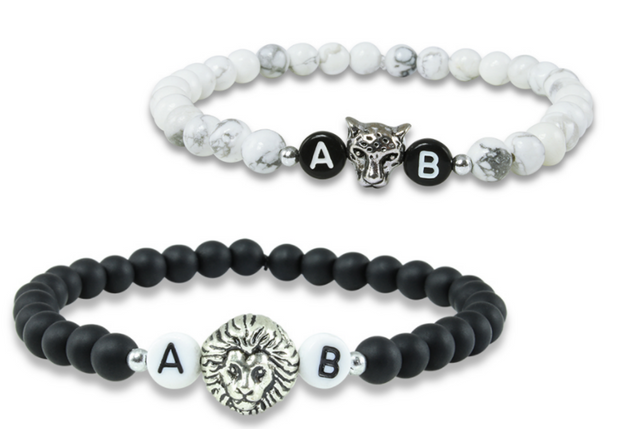 black white classic lion partnerarmband