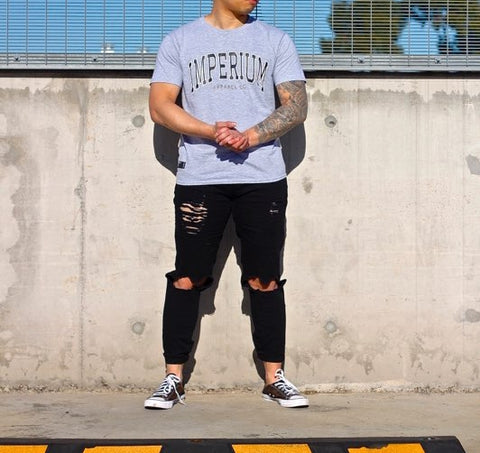 Grey College Style Tees