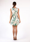 Cocktail Dress Beige Green Sleeveless Leafs Pleated Embellished Round Neck