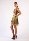 Cocktail dress gold print